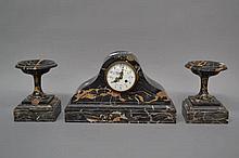 French Art Deco black marble domed top mantle clock & garnitures, no key, n