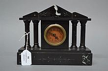 Antique Miniature marble mantle clock with later battery movements, approx