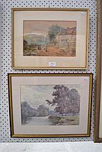 Two English watercolours, one, Country Cottage, the other a River Scene.19c