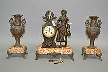 Antique French figural mantle clock and garnitures of a peasant girl, has k