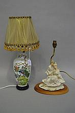 Two table lamps, approx 56cm H & shorter (2)