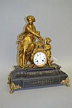 Antique figural Bronze and marble clock of a mother and child, no pendulum,