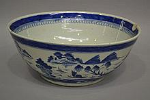 Blue and white punch bowl, approx 16.5cm H x 41cm dia