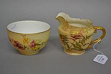 Antique Royal Worcester Blush ivory jug and sugar bowl