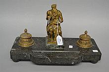 Impressive Antique French empire figural bronze & marble ink stand of Miche