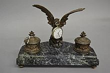 Antique French inkstand mounted with a with a eagle with outstretched wings