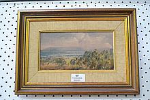 Oil on canvas, landscape, signed John Barrock lower left, approx 21cm x 11c