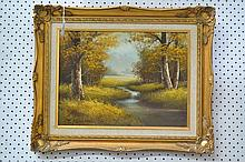 Oil on board, landscape, in decorative gilt wood frame, signed