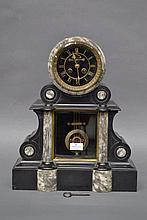 Antique French marble clock, has key, has pendulum, approx 47cm H x 38cm W