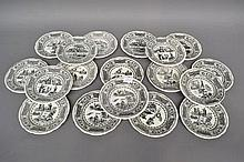 French Gien series plates in black & white, each approx 20cm dia (18)