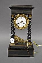 Antique French Napoleon III portico clock, has pendulum, has key, approx 43