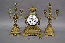 Antique French A Orleans bronze mantle clock  with porcelain & garnitures,