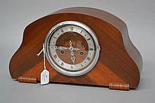 Enfield Deco mantel clock, has key and pendulum, approx 22cm H x 38cm W x 1