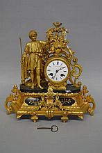 Antique French figural gilt clock, has key and pendulum, approx 36cm H x 35