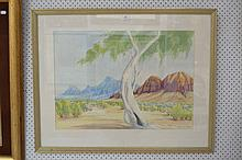 Australian outback landscape, watercolour, titled