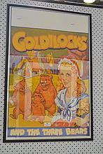 Original 1930 'Goldilocks' pantomime poster frame, approx 75cm x 50cm