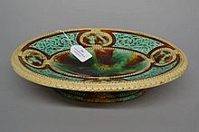 Antique Majolica Celtic knot decorated bread plate, approx 7cm H x 31cm L