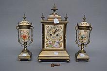 French garniture clock, has key and pendulum, clock approx 37cm H x 20cm W