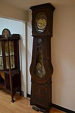Antique French comtoise clock, approx 230 cm H
