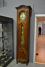 Antique French cherrywood longcase clock, approx 245cm H