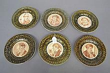 Six antique early 19th century French Longchamp plates Les Buveurs of vario