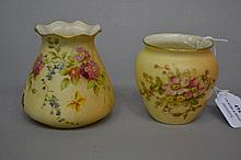 Two antique Royal Worcester blush ivory posy vases, approx one 8.5cm H and