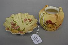 Antique Royal Worcester small dish and a four handle small posy vase (2)