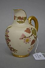Antique Royal Worcester small jug with flat back, approx 13.5cm H