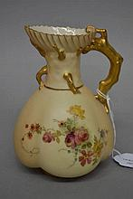 Antique Royal Worcester  blush ivory ewer with gilt branch handle, approx 1