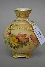 Antique Royal Worcester blush ivory vase, approx 11.5cm