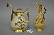 Two Royal Worcester  blush ivory jugs, both with damages