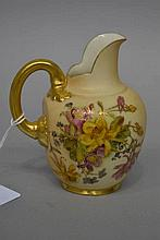 Antique Royal Worcester blush ivory small jug with flat back, approx 12cm H