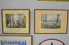 Two watercolours, landscape, one signed lower right