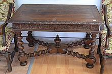 Antique French oak Renaissance style table/ desk, X frame stretchers below,
