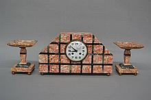 Art Deco French marble mantle clock and garnitures, no key or pendulum, clo