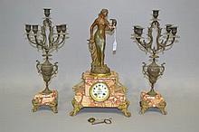 Antique French Parfum D'Arum mantle clock & garnitures, has key and pendulu