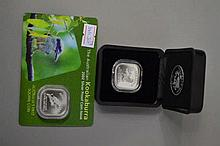 Two square Kookaburra coins, 2002 and 2003 both are ½ oz (2)