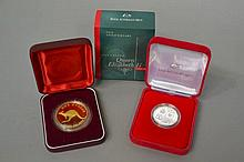 One dollar coin silver 1 oz along with The Accession of Her Majesty Queen E