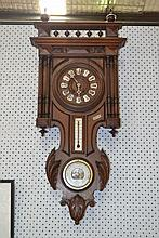 Antique French Henri II carved walnut wall clock/barometer, approx 90cm H
