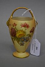 Royal Worcester blush ivory bud vase in a form of a basket, approx 13cm H