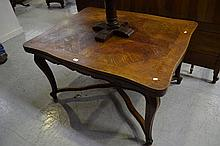 Antique French oak Louis XV drawer leaf table, with X frame stretcher, appr