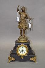 Antique French figural mantle clock, titled La Chanson, has key, has pendul
