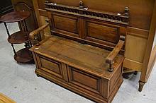 Antique French oak hall bench, approx 100cm H x 107cm W x 44cm D