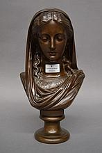 Eugne Aizelin (1821-1902) bronze bust of a veiled young lady, Barbedinne Foundry marks, possibly Duc