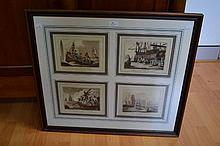 Framed set of four early whaling prints, dated 1813, approx 45cm x 54cm