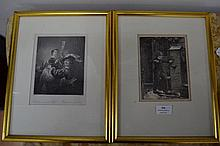 Rembrandt print along with a signed Walker etching, approx 18cm x 14cm and smaller (2)