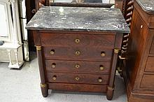 Antique French Empire Revival period marble topped small scale commode, bronze mounts and columns to