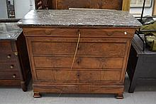 Antique French Louis Philippe marble topped four drawer commode, approx 102cm H x 126cm W x 60cm D
