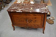 Vintage French transitional style floral marquetry marble topped two door cabinet, approx 82cm H x 1