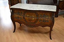 Vintage French Louis XV style floral marquetry marble topped commode, fitted with bronze mounts, app